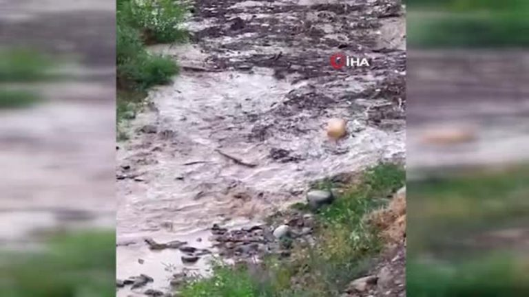 Son dakika haberi… Gümüşhane de dolu ve yağmur sele neden oldu